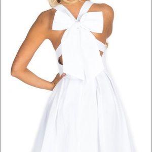 Lauren James white seersucker dress with big bow.